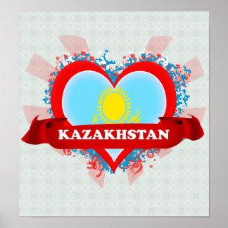 Vintage I Love Kazakhstan Print