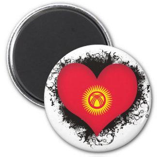 Vintage I Love Kyrgyzstan 2 Inch Round Magnet