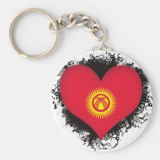 Vintage I Love Kyrgyzstan Basic Round Button Keychain