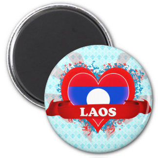 Vintage I Love Laos Magnet