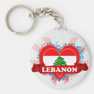Vintage I Love Lebanon Basic Round Button Keychain