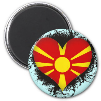Vintage I Love Macedonia 2 Inch Round Magnet