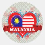 Vintage I Love Malaysia Round Stickers