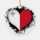 Vintage I Love Malta Christmas Tree Ornaments