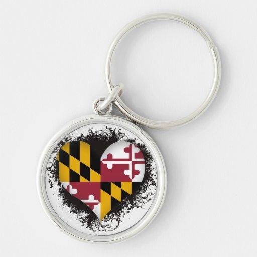 Vintage I Love Maryland Key Chains