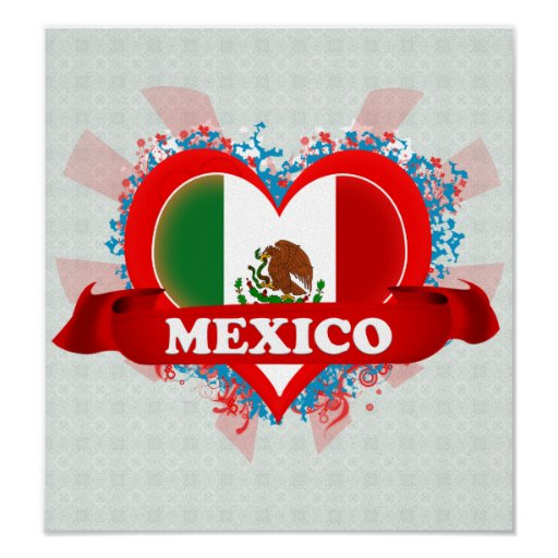 Vintage I Love Mexico Poster