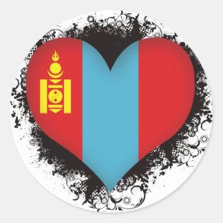 Vintage I Love Mongolia Round Sticker
