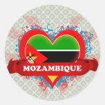 Vintage I Love Mozambique Round Stickers