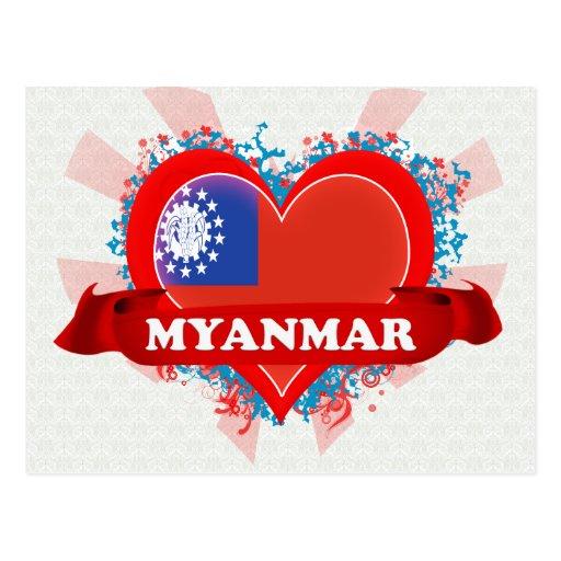 Vintage I Love Myanmar Postcard Zazzle
