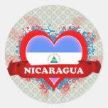 Vintage I Love Nicaragua Round Stickers