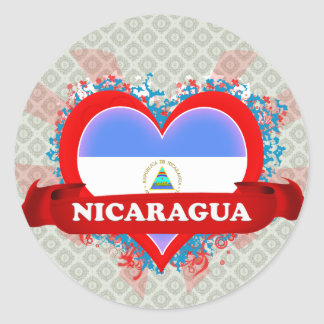Vintage I Love Nicaragua Round Stickers