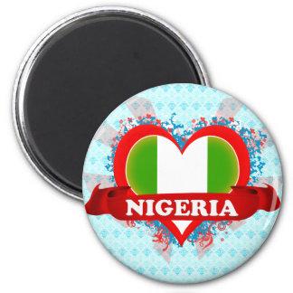 Vintage I Love Nigeria 2 Inch Round Magnet