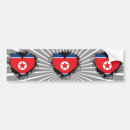 Vintage I Love North Korea Bumper Stickers
