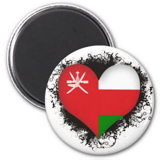 Vintage I Love Oman 2 Inch Round Magnet