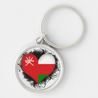 Vintage I Love Oman Silver-Colored Round Keychain