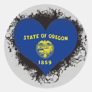 Vintage I Love Oregon Round Sticker