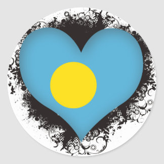 Vintage I Love Palau Round Stickers