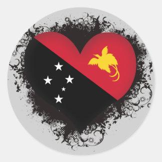 Vintage I Love Papua New Guinea Classic Round Sticker