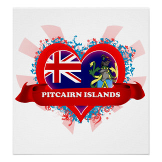 Vintage I Love Pitcairn Islands Posters