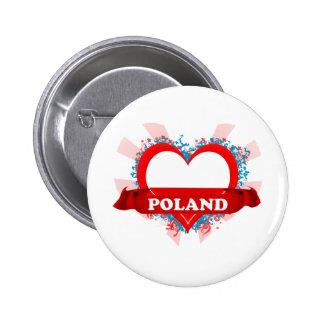 Vintage I Love Poland Pinback Buttons