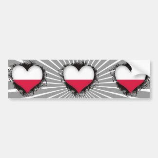 Vintage I Love Poland Car Bumper Sticker