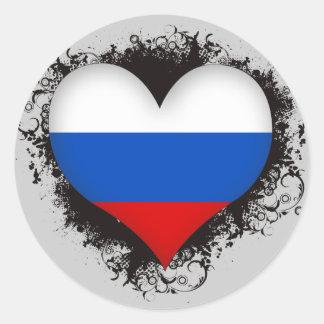 Vintage I Love Russia Classic Round Sticker