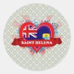 Vintage I Love Saint Helena Round Sticker