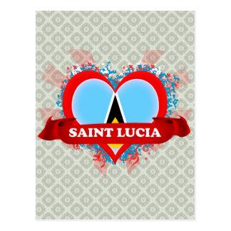 Vintage I Love Saint Lucia Postcard