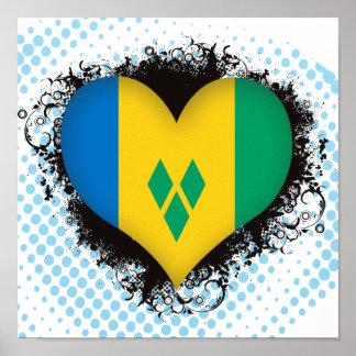Vintage I Love Saint Vincent and the Grenadines Poster