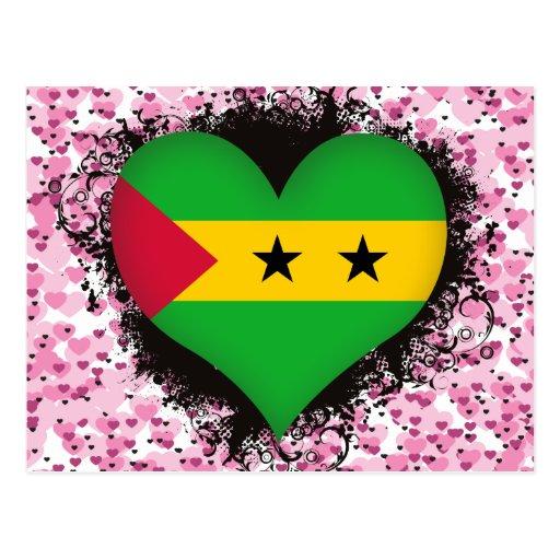 Vintage I Love Sao Tome and Principe Post Cards