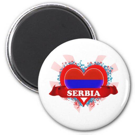 Vintage I Love Serbia 2 Inch Round Magnet