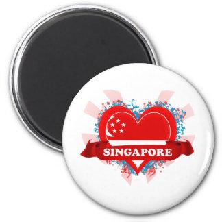 Vintage I Love Singapore 2 Inch Round Magnet