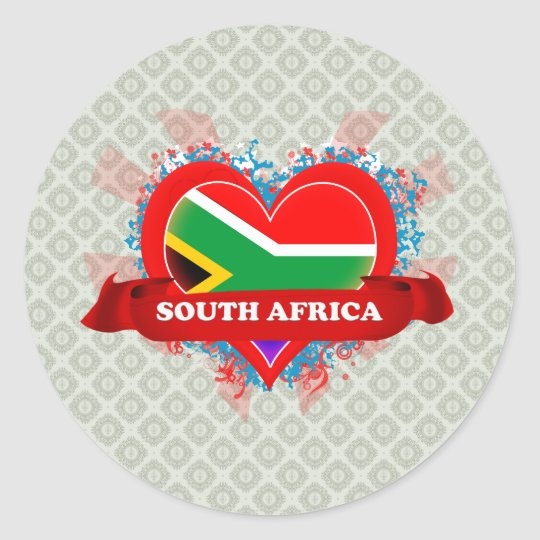 Vintage I Love South Africa Classic Round Sticker