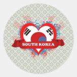 Vintage I Love South Korea Classic Round Sticker