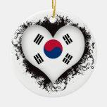 Vintage I Love South Korea Ornaments