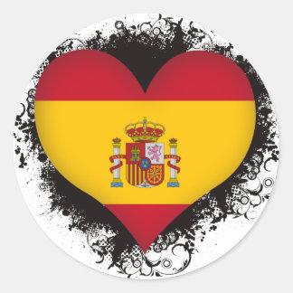Vintage I Love Spain Round Sticker