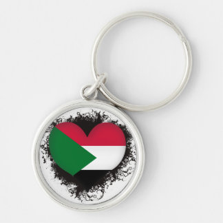 Vintage I Love Sudan Silver-Colored Round Keychain