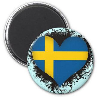 Vintage I Love Sweden 2 Inch Round Magnet