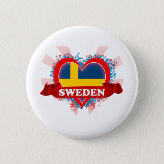 Vintage I Love Sweden Button
