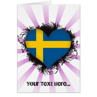 Vintage I Love Sweden Card