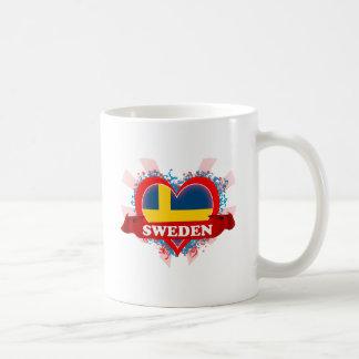 Vintage I Love Sweden Classic White Coffee Mug