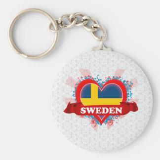 Vintage I Love Sweden Keychain