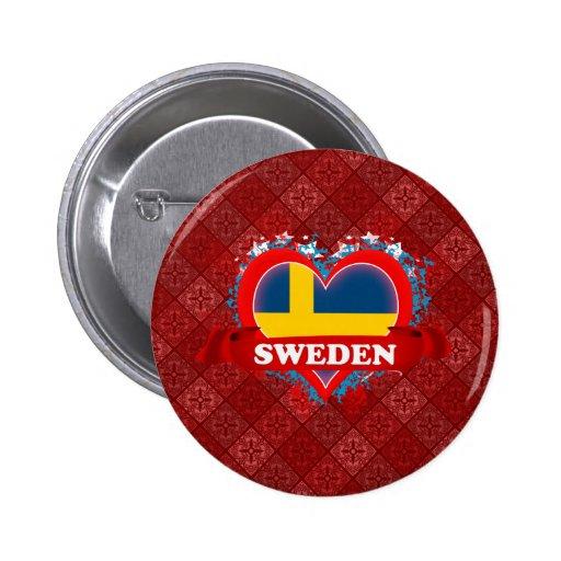 Vintage I Love Sweden Pinback Buttons