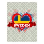Vintage I Love Sweden Postcard