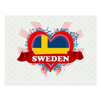 Vintage I Love Sweden Postcard