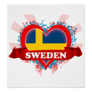 Vintage I Love Sweden Posters