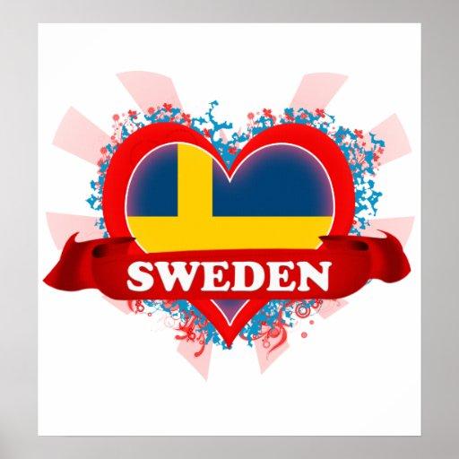 Vintage I Love Sweden Poster