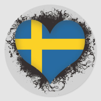 Vintage I Love Sweden Round Stickers