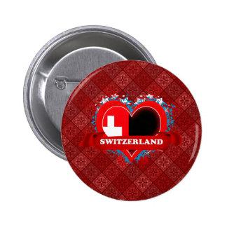 Vintage I Love Switzerland 2 Inch Round Button