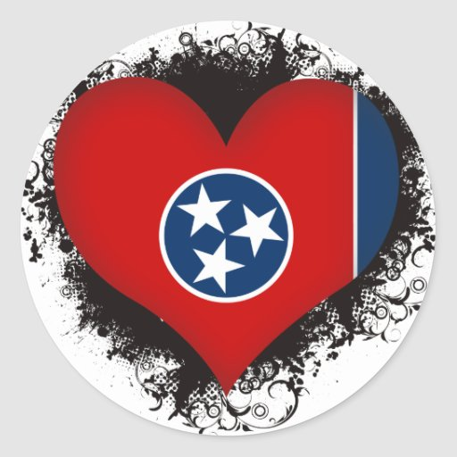 Vintage I Love Tennessee Round Sticker